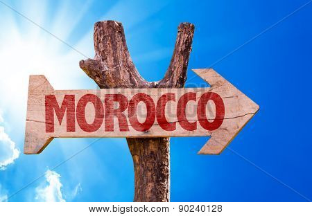 Morocco wooden sign with sky background