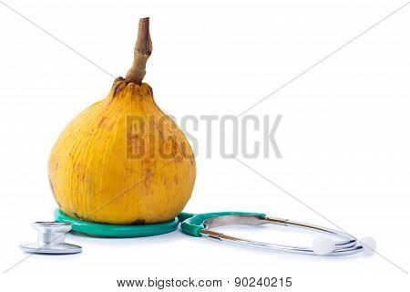 Santol (meliaceae) And Stethoscope On White Background
