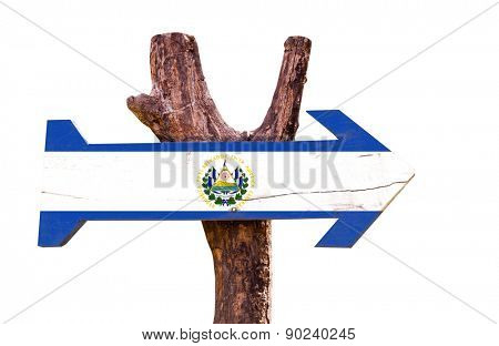 El Salvador Flag wooden sign isolated on white background