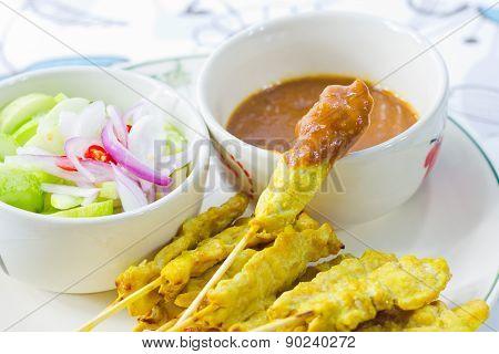Grilled Pork Satay Thai Food