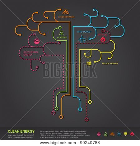 Clean Energy Flat Infographic Diagram Template Design In Tree Shape, Create By Vector