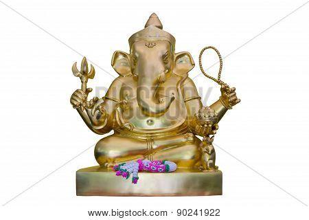 Golden Hindu God Ganesha, Isolated On White Background