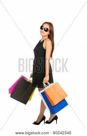 Asian Female Shopper Casually Standing Full