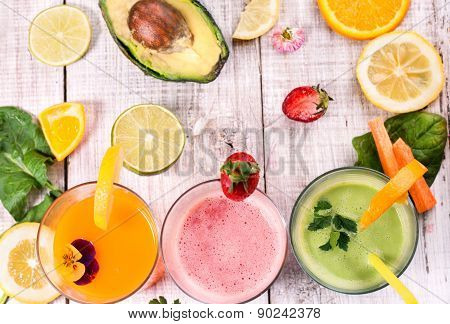 healthy delicious smoothie and juice