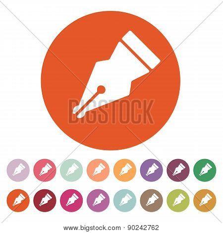 The Pen Icon. Fountain Pen Symbol. Flat