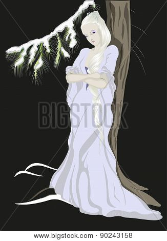 The Snow Queen standing near the tree.EPS10 vector illustration