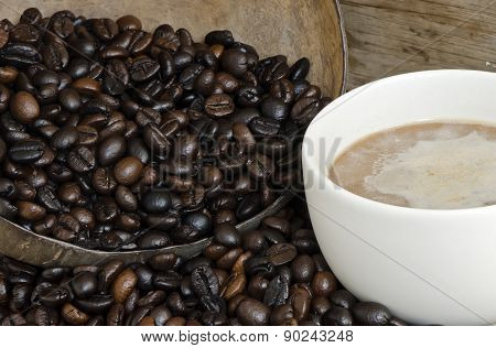 Coffee Bean In Coconut Shell