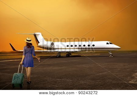 Traveler Woman Walking Into Private Jet