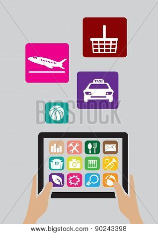 Digital Tablet Computer And Apps Icons