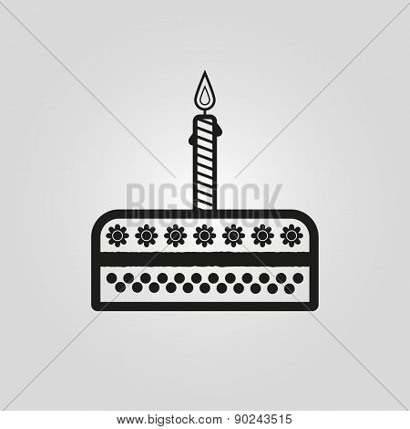 Birthday Cake Sign Icon. Vector