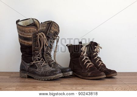 Two Pairs Of Worn Shoes