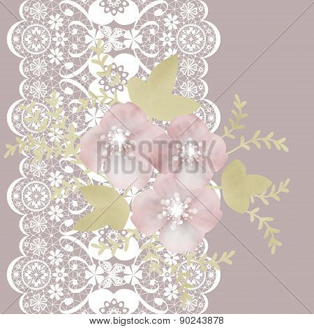 Light seamless lacy lace pattern on green background