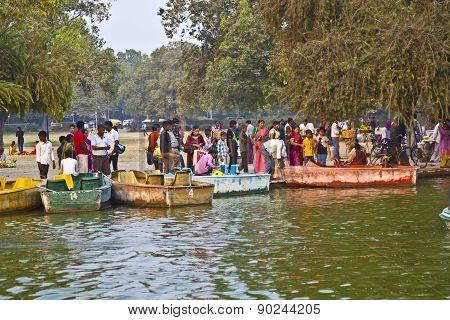 People Enjoy Boating On The Artifical Lake Near The Indian Gate