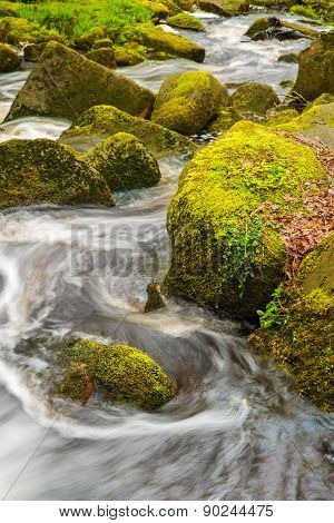 Stock Image Of A Running River Through Moss Covered Rocks In Padley Gorge In The Peak District