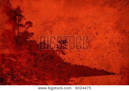 Texture with red vintage landscape of coastal trees and rocks