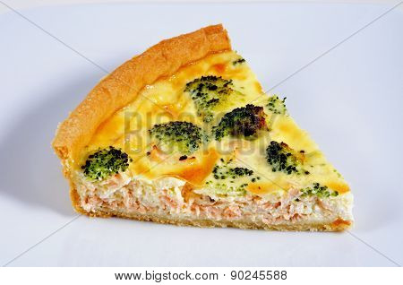 Homemade Salmon and Broccoli Quiche.