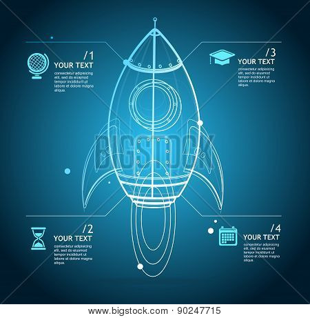 Vector rocket infographic