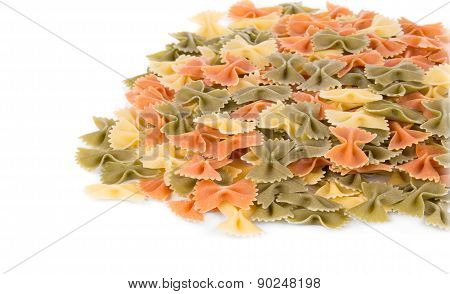 Close up heap of farfalle pasta.