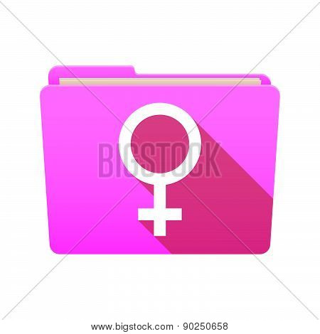 Folder Icon With A Female Sign