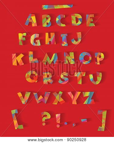 color alphabet with the effect of cutting paper