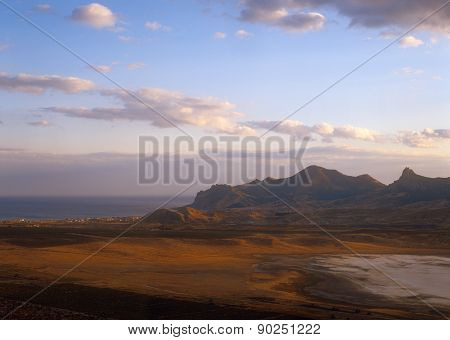 Crimean Landscape At Sunset.