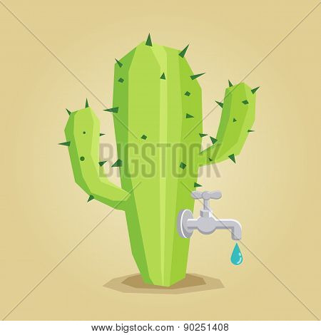 Faucet on cactus