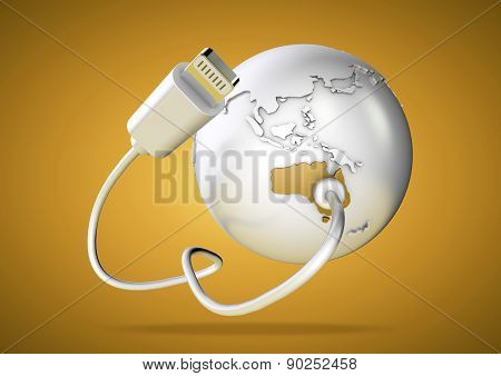 Computer cable connect to Australia on world globe.