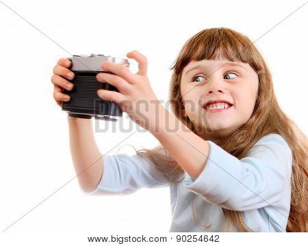 Little Girl Make A Selfie
