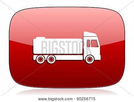 truck red glossy web icon