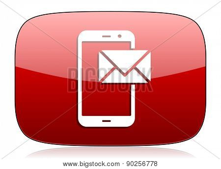 mail red glossy web icon