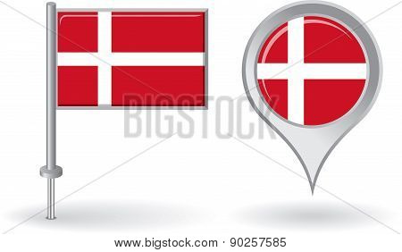 Danish pin icon and map pointer flag. Vector
