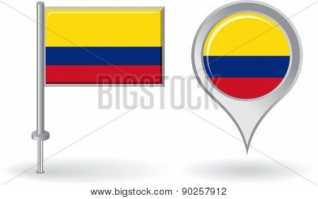Colombian pin icon and map pointer flag. Vector