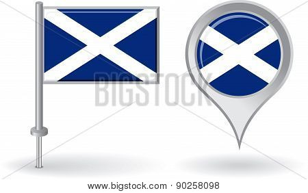 Scottish pin icon and map pointer flag. Vector