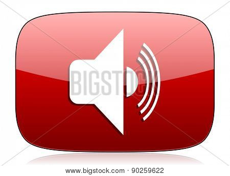 volume red glossy web icon