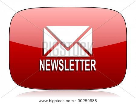 newsletter red glossy web icon