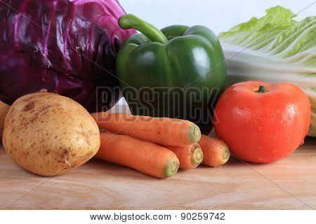 Vegetables On Wooden Chopping Board Prepare Cooking