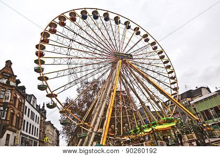 Big Wheel In Motion With Dark Clouds