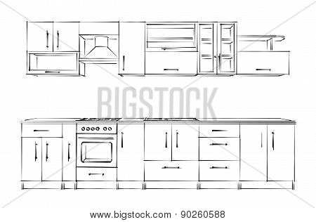 Kitchen Furniture Set. Sketch Black-and-white.