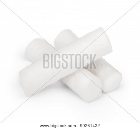 Sterile Cotton Swabs For Dentistry On A White Background Isolation