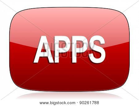 apps red glossy web icon