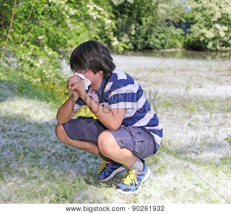 Boy With Pollen Allergy With White Handkerchief