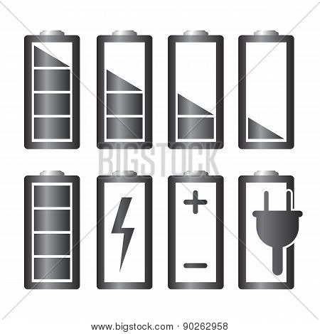 Battery Charge Level Indicators Set. Vector Illustration.