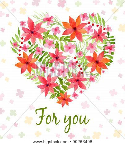 Vector heart made of watercolor flowers.