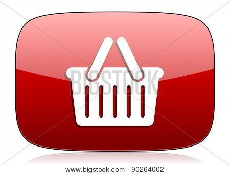 cart red glossy web icon