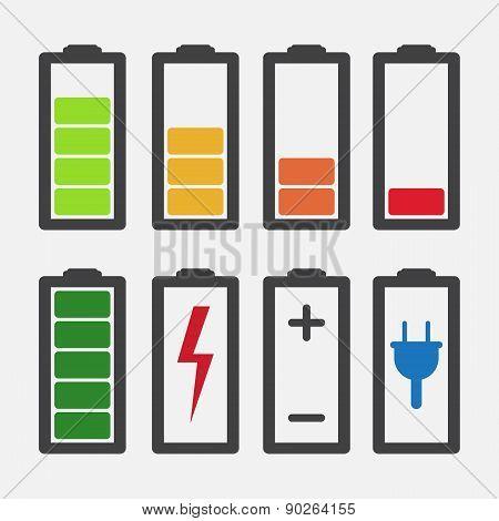 Set Of Colourful Battery Charge Level Indicators Isolated