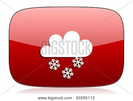 snowing red glossy web icon