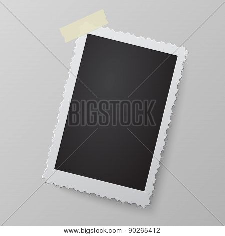Blank Photo Frame Looking Like Retro Photograph On Soft Background