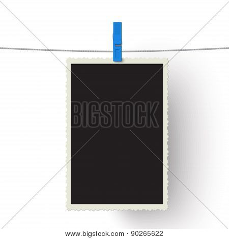 Vector Photo Hanging On A Line Isolated On White Background