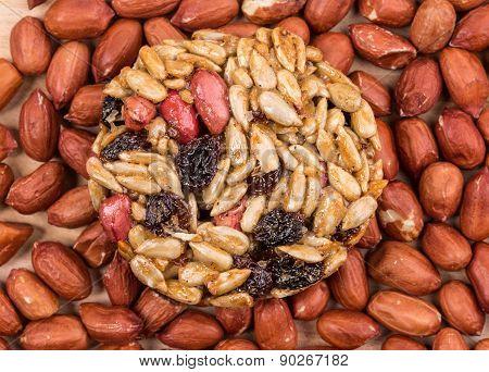Candied peanuts sunflower seeds on peanuts.