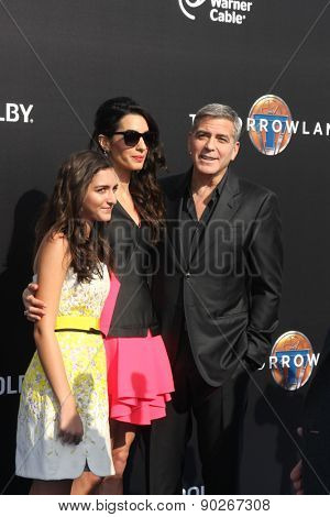 LOS ANGELES - MAY 9:  Mia Alamuddin, Amal Alamuddin Clooney, George Clooney at the